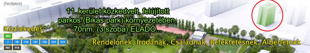 11. kerület közkedvelt, felújított parkos (Bikás park) környezetében, 70nm, (3 szoba) ELADÓ